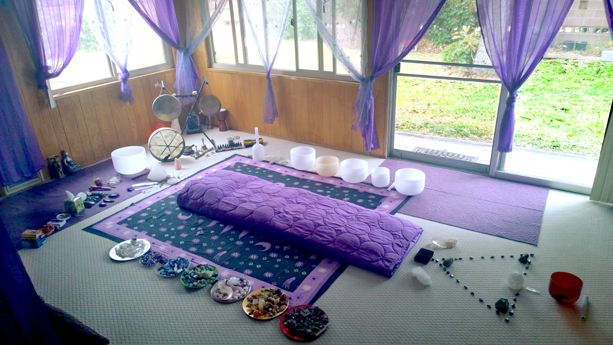 an image of a healing room with a different types of healing crystals