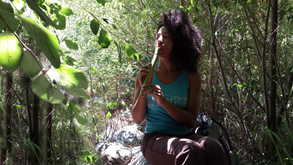 an image of a curly haired woman sitting on a rock in the forest playing a flute