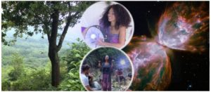 a banner image with a background of a nature a two picture of a curly haired woman
